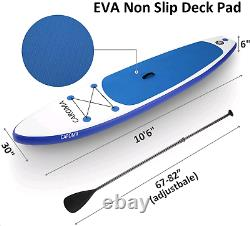 10.5' 6'' Thick ThInflatable Stand Up Paddle Board SUP Surfboard withPump Backpack