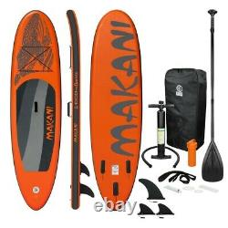 10.5' FT Long Inflatable Stand Up Paddle Board Complete Kit 6'' Thick Orange SUP