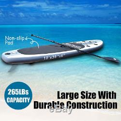 10' Inflatable Stand Up Paddle Board SUP with 3 Fins Adjustable Paddle Backpack