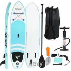 10' Inflatable Stand Up Paddle Board Surfboard Adjustable Fin Paddle In Beach US