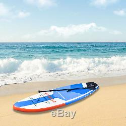 10' Inflatable Stand up Paddle Board Surfboard SUP Adjustable Fin Paddle Blue