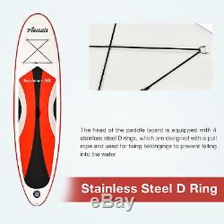 10' Inflatable Stand up Paddle Board Surfboard SUP Adjustable Fin Paddle Red