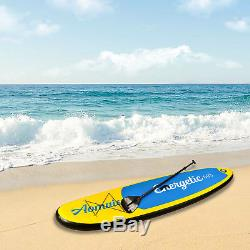 10' Inflatable Stand up Paddle Board Surfboard SUP Adjustable Fin Paddle Yellow