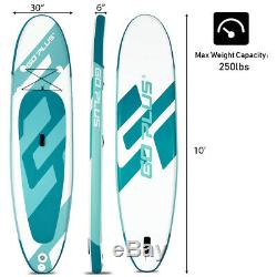 10' Inflatable Stand up Paddle Board Surfboard Water Sport All Skill Level WithBag