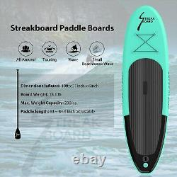 10' Streakboard Inflatable Stand Up Paddle Board Surfing SUP Board Non Slip Deck