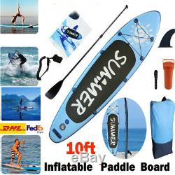 10ft Inflatable Stand Up Paddle Board SUP & Accessories Float Paddle WithPump DHL