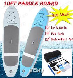 10ft Inflatable Stand Up Paddle Board iSUP with Adjustable Surfing Paddle US