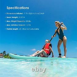 11FT Inflatable Stand Up Paddle Board SUP Surfboard Travel Bag with complete kit