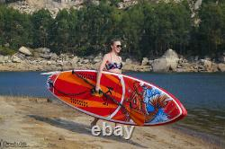 11.5' Stand Up Paddleboard SUP Displacement Hull (Red/Orng) Kit, 1 Year Warranty