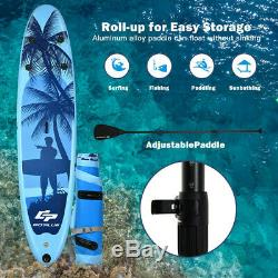 11 Foot Inflatable Stand Up Paddle Board SUP Kayak Blue Surf Board Kit with Paddle