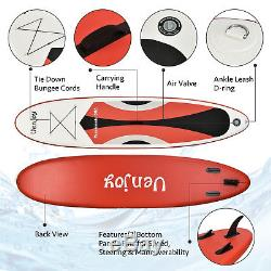 11' Inflatable SUP Stand up Paddle Board Surfboard Adjustable Fin Paddle Red