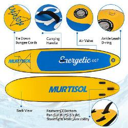 11' Inflatable Stand Up Paddle Board 6 Thick Non-Slip Adjustable Paddle Yellow