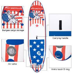 11' Inflatable Stand Up Paddle Board SUP With Fin Adjustable Paddle Backpack Sport