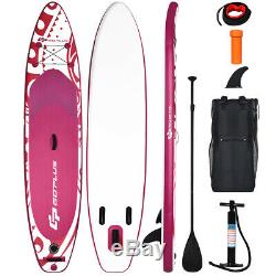 11' Inflatable Stand Up Paddle Board with Carry Bag & Adjustable Paddle Pink