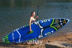 11' Stand Up Paddleboard SUP Displacement Hull (Blue/Grn) Kit + 1 Year Warranty