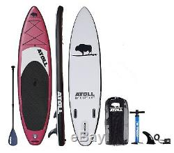 Atoll 11'0 Foot Inflatable Stand Up Paddle Board, iSUP, Paddle, Bag, Burgundy
