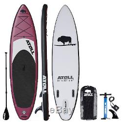 Atoll 11' Foot Inflatable Stand Up Paddle Board, iSUP, Paddle, Bag, Burgundy