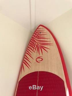 Beautiful Hawaiian Red and Wooden Aesthetic Fiberglass Stand Up Paddle Board