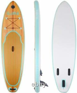 DAMA Wooden Nature Inflatable Stand Up Paddle Board, Paddle, Pump, Leash, New