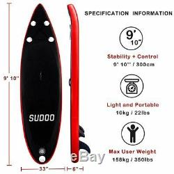 Inflatable SUP Stand Up Surfing Paddle Board Paddle(6 in Thick) WithAccessories US
