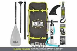 NEW ISLE Surf & SUP 11' Explorer Inflatable Stand Up Paddle Board Package Aqua