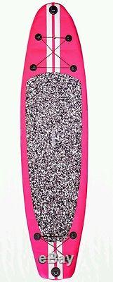 New 10' Stand Up Paddleboard 6 Board Width Inflatable SUP Paddle Pink
