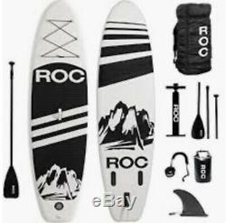 Roc Inflatable Stand Up Paddle Board With Book Bag And Pump