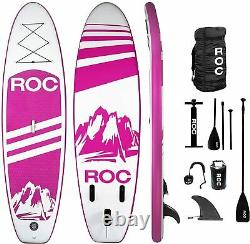 Roc Inflatable Stand Up Paddle Board with Free Premium SUP Accessories Pink