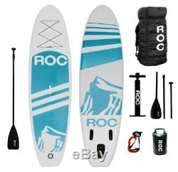 Roc Inflatable Stand Up Paddle Board with Premium SUP Accessories Light Blue