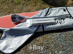 SUP ATX Stand Up Paddle Board orange & white with case, Paddle, and rack pads