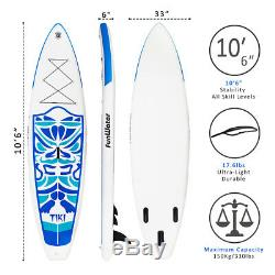 SUP Inflatable Stand Up Paddle Board 10'6x33x6 withAd Paddle, Backpack, leash, pump