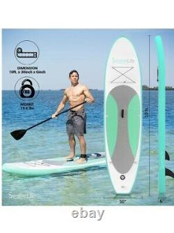 SereneLife Inflatable Stand Up Paddle Board premium Accessories! Olive Green
