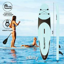 Telesport Inflatable Stand Up Paddle Board 10.6ft with SUP Accessories Carry Bag