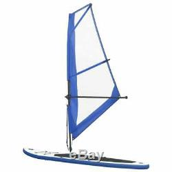 VidaXL Inflatable Stand Up Paddleboard with Sail Set Blue Surfboard Fin Paddle