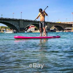 VoltSurf 11 Foot Rover Inflatable SUP Stand Up Paddle Board Kit with Pump, Pink